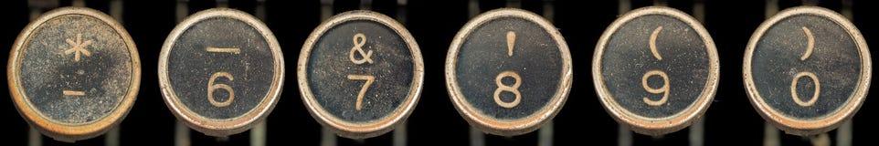 0 gammala skrivmaskin för 6 tangenter Arkivbilder