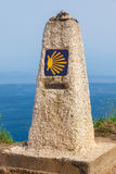 0 km, Camino de圣地亚哥的前个结尾 库存图片