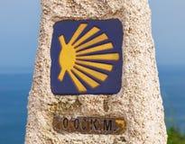 0 km, последний конец Camino de Сантьяго Стоковое фото RF