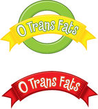 0 Trans Fat. Flash and banner that can be used on food packaging to claim zero trans fats eps is vector based file Stock Illustration
