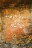 000 10 för Australien för aboriginal konst år gammala rock Arkivfoto