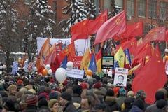 000 100 som avenyn sammanfogar den moscow protesten, samlar sakharov Royaltyfri Fotografi