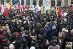 000 100 som avenyn sammanfogar den moscow protesten, samlar sakharov Royaltyfria Bilder