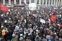 000 100 som avenyn sammanfogar den moscow protesten, samlar sakharov Royaltyfria Foton