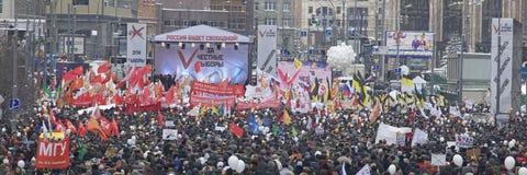 000 100 som avenyn sammanfogar den moscow protesten, samlar sakharov Arkivfoto