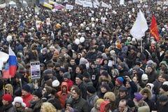 000 100 som avenyn sammanfogar den moscow protesten, samlar sakharov Arkivbild