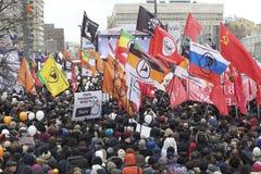 000 100 som avenyn sammanfogar den moscow protesten, samlar sakharov Arkivbilder