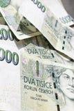 000 2 fakturerar den tjeckiska korunaen Fotografering för Bildbyråer