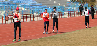 000 20男孩米赛跑未认出的结构 库存照片