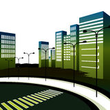 007-122011. An image of a crosswalk in a large downtown 3d city royalty free illustration
