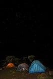 008个阵营小屋kilimanjaro晚上shira帐篷 库存图片