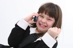 01个移动电话儿童女孩 免版税库存照片