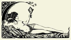 01古色古香的美丽的向量妇女 免版税图库摄影