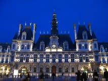 01法国大厅晚上巴黎城镇 库存照片