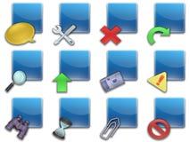 01蓝色按钮摆正了万维网 库存图片