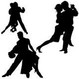 01 σκιαγραφίες χορού Στοκ Φωτογραφία