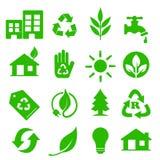 01 идут зеленые установленные иконы Стоковое Изображение