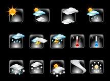 01 прогнозировали погоду вектора лоснистой иконы установленную v Стоковое Изображение