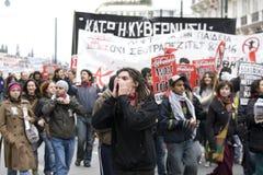 01 09 athens personer som protesterar Royaltyfri Foto
