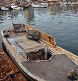 01条小船捕鱼 图库摄影