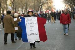 01 29 2009 demonstration france paris Royaltyfri Foto