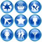 01 błękit ikony set Fotografia Royalty Free