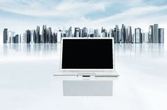 01 biznesu laptopu nowożytny szablon obraz stock