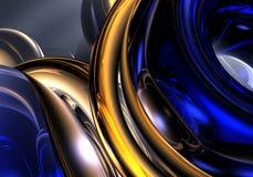 01 blåa guld- trådar Royaltyfri Foto