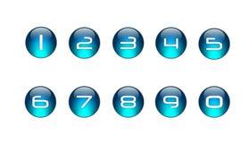 01 blåa inställda symbolsnummer Royaltyfri Foto