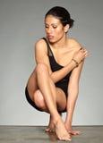 01 czarny figuratywna włosiana kobieta Zdjęcia Royalty Free