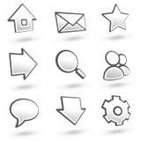 01 gråa symboler ställde in website Arkivfoto