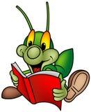 01 książkowej pluskwy zieleni szczęśliwy czytanie Fotografia Stock