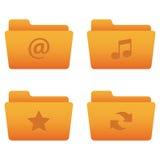 01 Orange Folders Internet Icons Stock Image