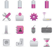 01 Purple Computer Icons. A group of coloured computer icons set stock illustration