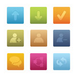 01 Square Chat Media Icons Stock Photo