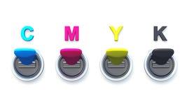 01 strömbrytare för cmyk 3d royaltyfri illustrationer
