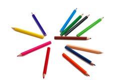 01 tecknande multicolor blyertspennaserie Royaltyfri Foto
