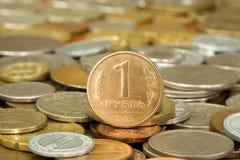 010枚硬币货币卢布 库存图片