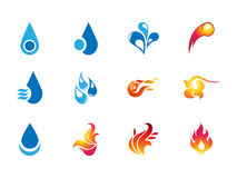 0106 Fire and Water Icons Stock Photography
