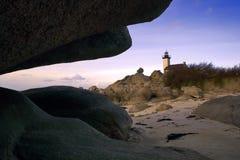 013 Pointe de Pontusval_Kerveren. Lighthouse near Kerveren, Bretagne, France Stock Photos
