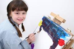 02个女孩绘画 免版税库存图片