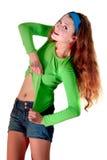 02个女孩绿色体育运动诉讼 免版税库存照片