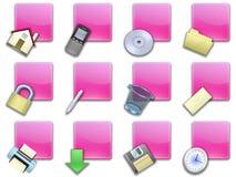 02个按钮紫色被摆正的万维网 免版税图库摄影