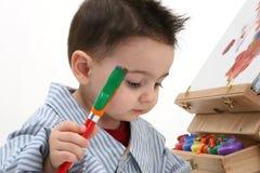 02个男孩儿童绘画 免版税库存图片