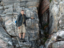02个登山人岩石 库存照片