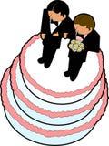 02个蛋糕轻便短大衣婚礼 免版税库存图片