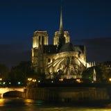 02个贵妇人法国晚上notre巴黎 免版税库存图片