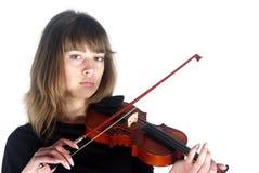 02女孩没有微笑小提琴手 图库摄影