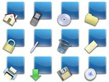 02蓝色按钮摆正了万维网 免版税库存图片