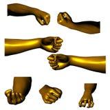 02 золотистых руки Стоковые Изображения